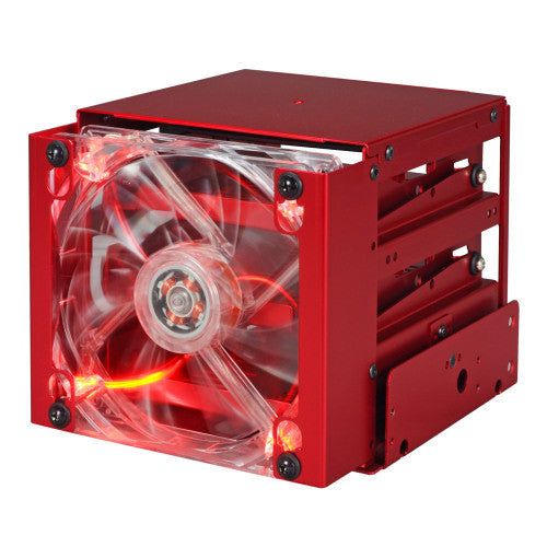 Lian Li Anti-Vibration HDD Cage with Fan Anodized RED #EX-332NR - Coolerguys