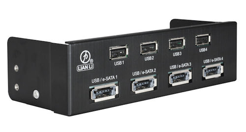 Lian Li USB 2.0 HUB / High-speed Port /Power e-SATA Combo HS Port: BZ-U06B (Black) - Coolerguys