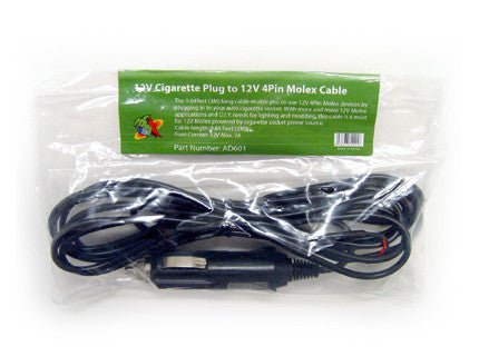 Logisys 12V Cigarette Plug to 4Pin Molex Power Cable #AD601