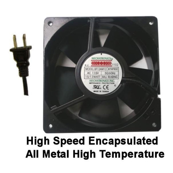 Mechatronics High Temp Encapsulated Fan 120x120x38mm, Ball Bearing, 115VAC, Fan UF12AM12-BTHF832