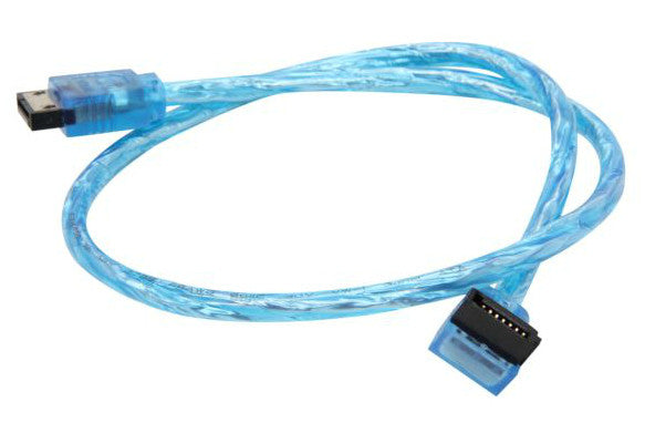 OKGEAR 18 inch SATA 3.0 round cable,straight to right angle w/ metal shield,UV blue color #OK18ARUB12