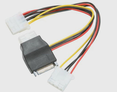 "OKGEAR  8"" SATA 15pin male to three 4pin molex female cable Adapter #AD-Y-44-0.2M - Coolerguys"