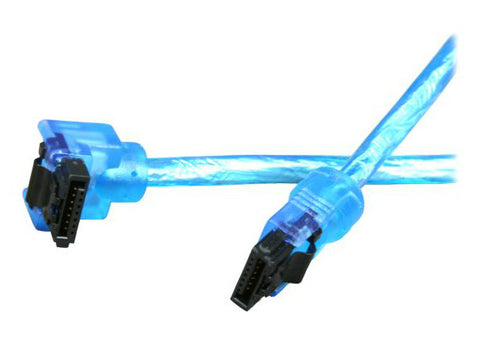 "Sata III Premium Cable 24"" UV Blue Straight to Right Angle OK24A3RUB12"