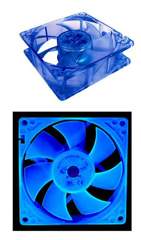 Spire 120MM Blue UV Reactive Crystal Fan, Model FD12025S1M3-UV