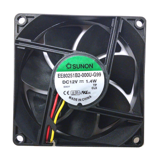 Sunon 80x80x25mm Medium Speed 12 Volt 3 Pin Fan EE80251B2-000U-G99 - Coolerguys