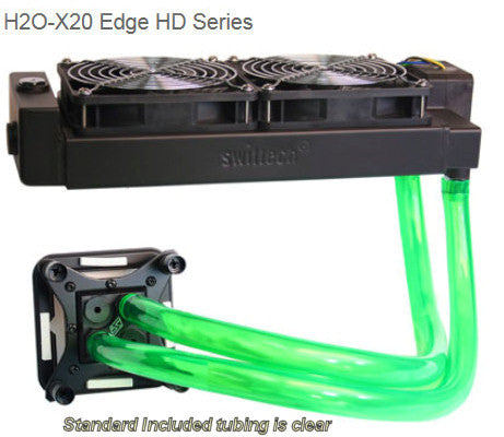 Swiftech  H20-220 HD Edge Liquid Cooling with dual 120mm radiator, and Black Apogee™ HD.