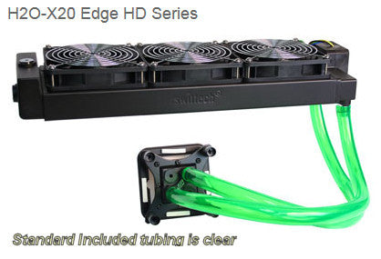Swiftech H20-320 HD Edge Liquid Cooling with triple 120mm radiator, and Black Apogee™ HD.