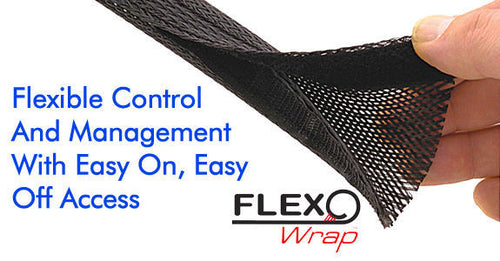 Techflex FLEXO WRAP 1.25 inch (Black) Flexible Control/ Per Foot