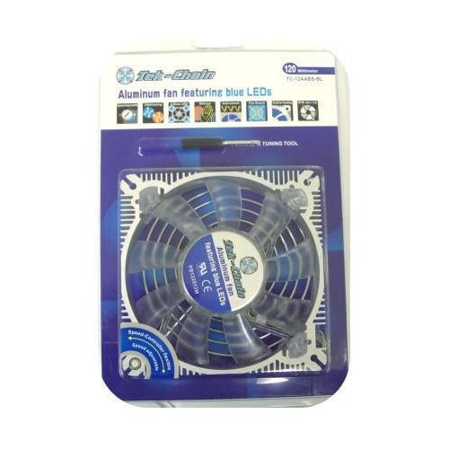 Tek-Chain 80mm Aluminum fame fan with blue leds and adjustable fan speed #TC-8AABS-BL