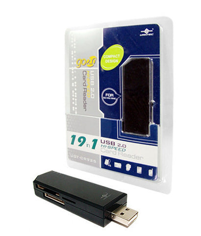 Vantec Compact Hi-Speed USB 2.0 19-In-1 External Card Reader/ Writer #UGT-CR925-BK
