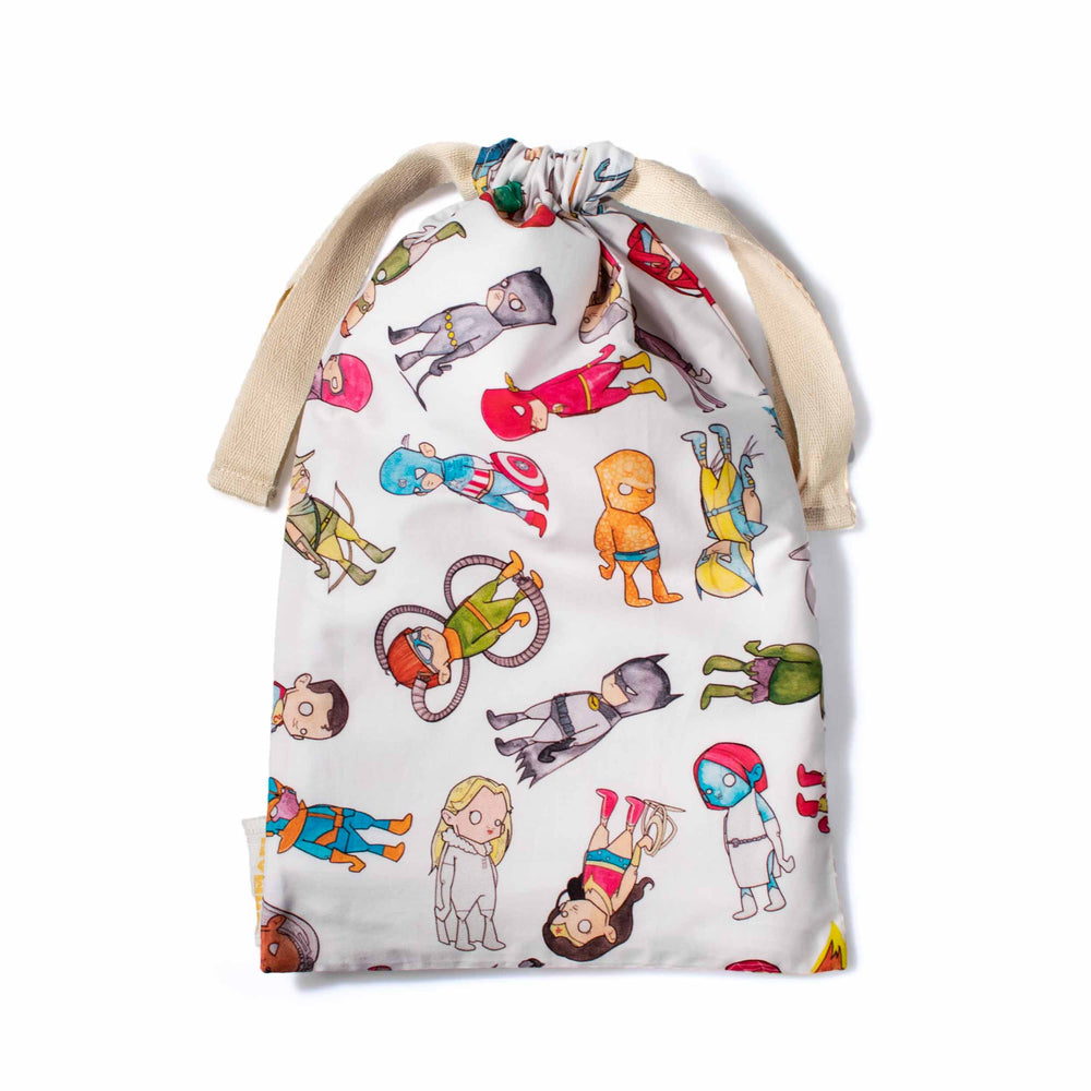 Superheroes drawstring bag
