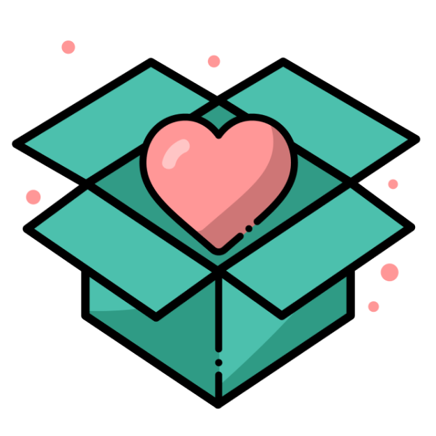Icon of a box opening with a heart inside