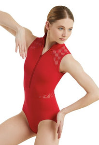 Flextek Shadow Zip Front Lace Leotard - Red