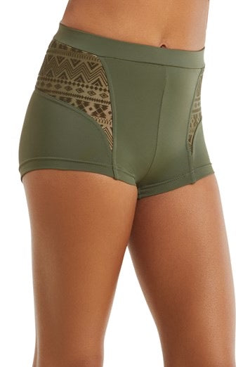 Aztec Mesh Booty Shorts Crop Top Set - Olive