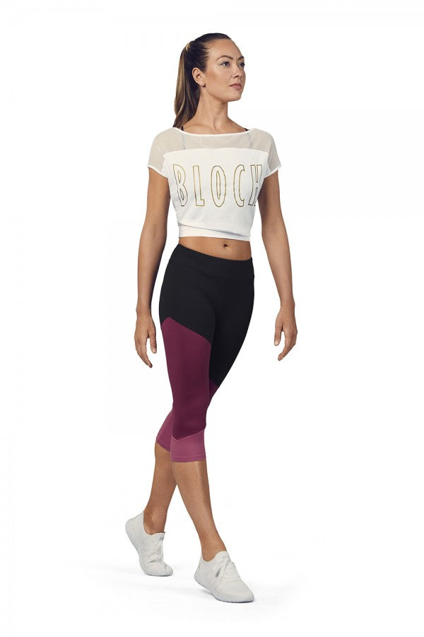BLOCH - Ladies Crop Mesh Tee - White