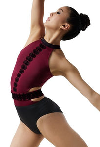 Weissman flocked leotard with belt
