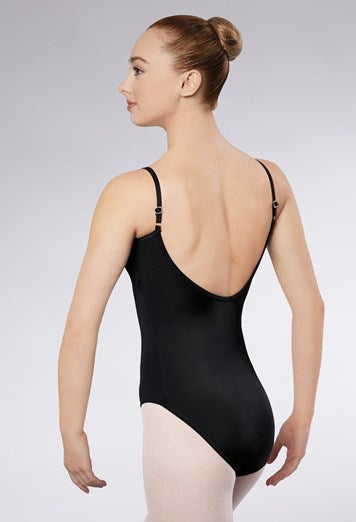 Pinch front low back leotard