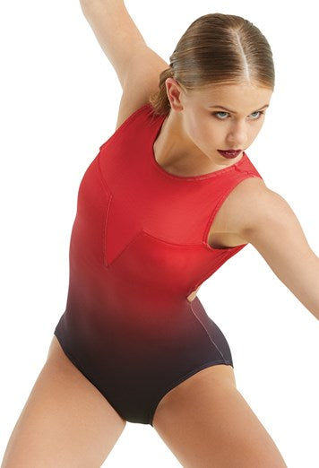 Balera Mesh and Ombre Leotard - Red
