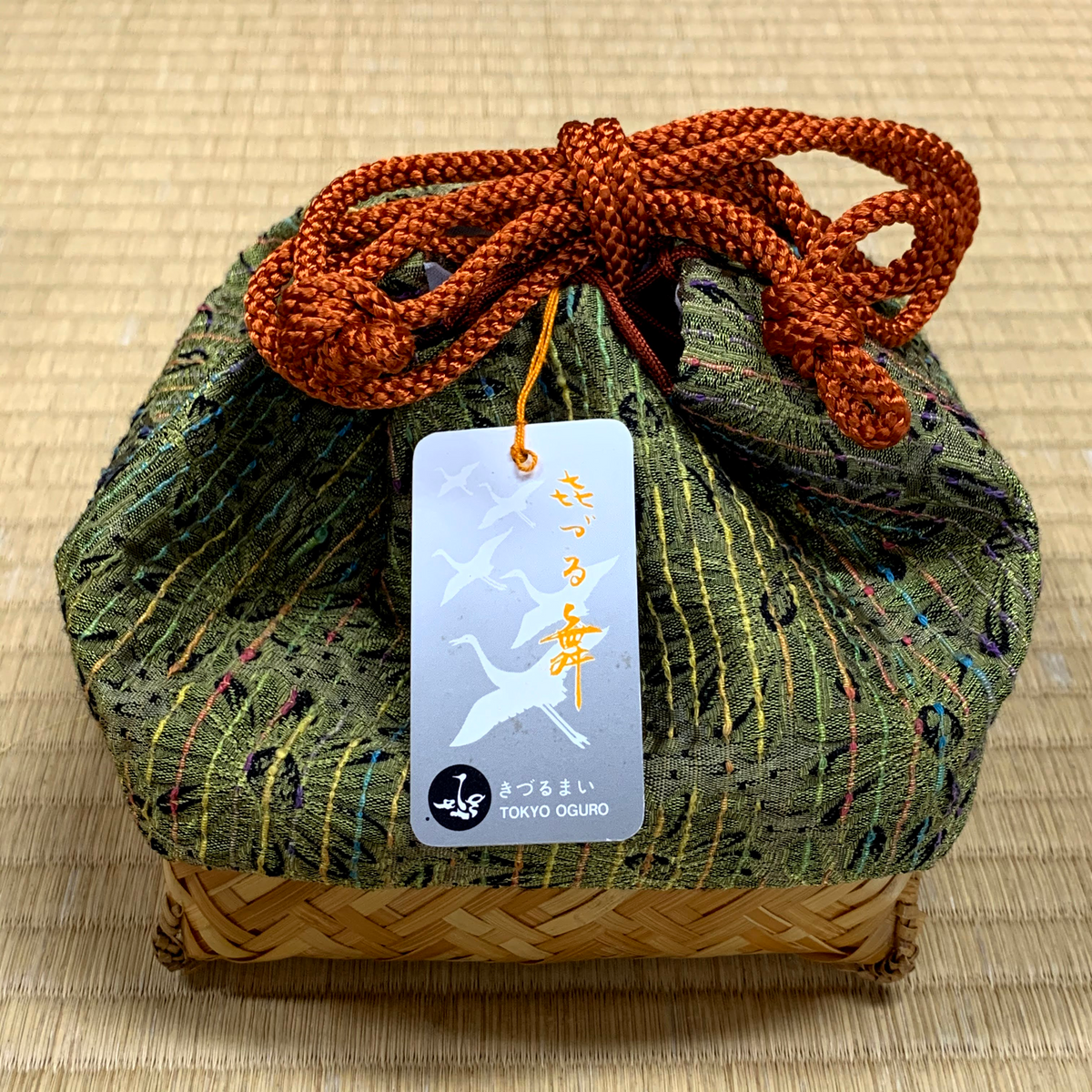 <transcy>Bamboo Basket Drawstring Kinchaku Bag, Green, Free Shipping</transcy>