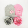 baby girl flower hat cap Collar Scarf set  bow tie cotton flower beanie for girls Butterfly Knot Melamed bonnet 6 months-3 years