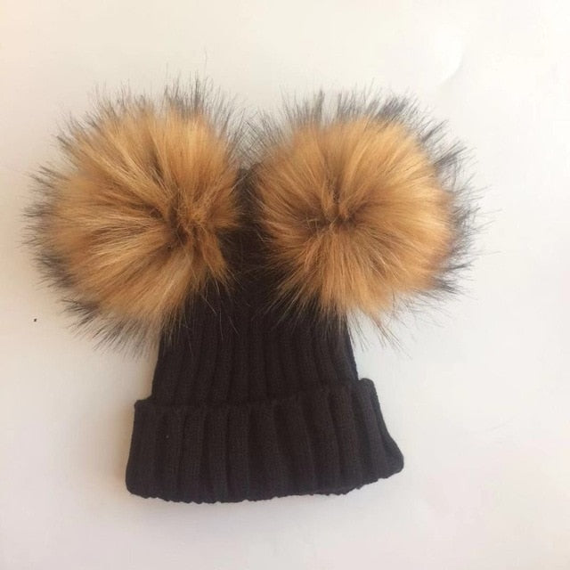 children's winter toddler baby kids faux fur hat cap beanie with 2 two double pom poms pompom ears  funny hat for boys and girls