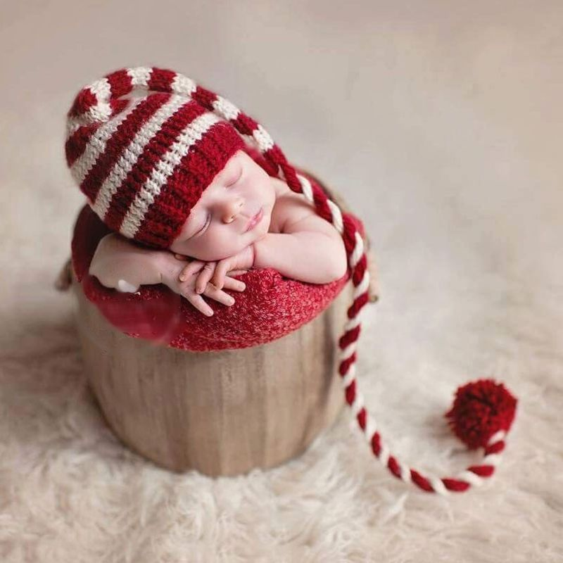 Baby knitting Long Tails Christmas Hat Newborn Photography Props  Stripe Crochet Baby Hats Baby Props For Photography #905