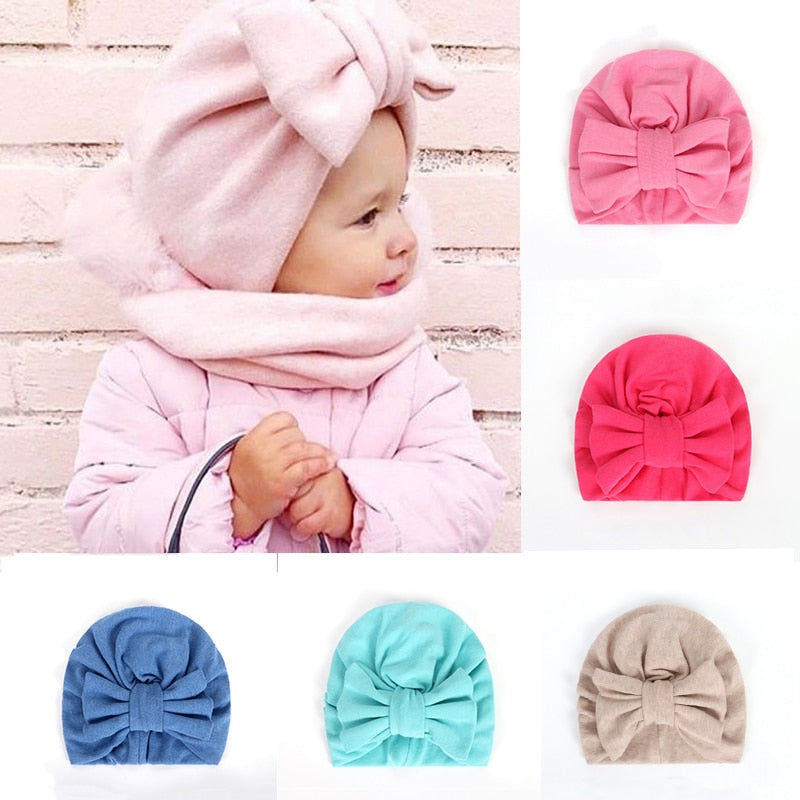 Warm Baby Hats For Boys&Girls Infant Lovely Bowknot Hats Baby Bonnet Beanie Turban Head Accessories Kids Gifts