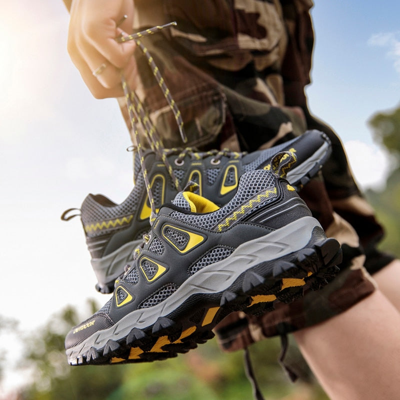 Men's Outdoor climbing Hiking Shoes Spring Summer Air Mesh Breathable Waterproof Anti-skid Climbing Shoes Man Trekking Trail Sneakers