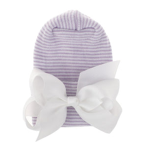Newborn Baby Knit Hat with Large Ribbon Bow Infant Hospital Hat Baby Warm Beanie Bows for Headwear Knitted Headwrap Turban