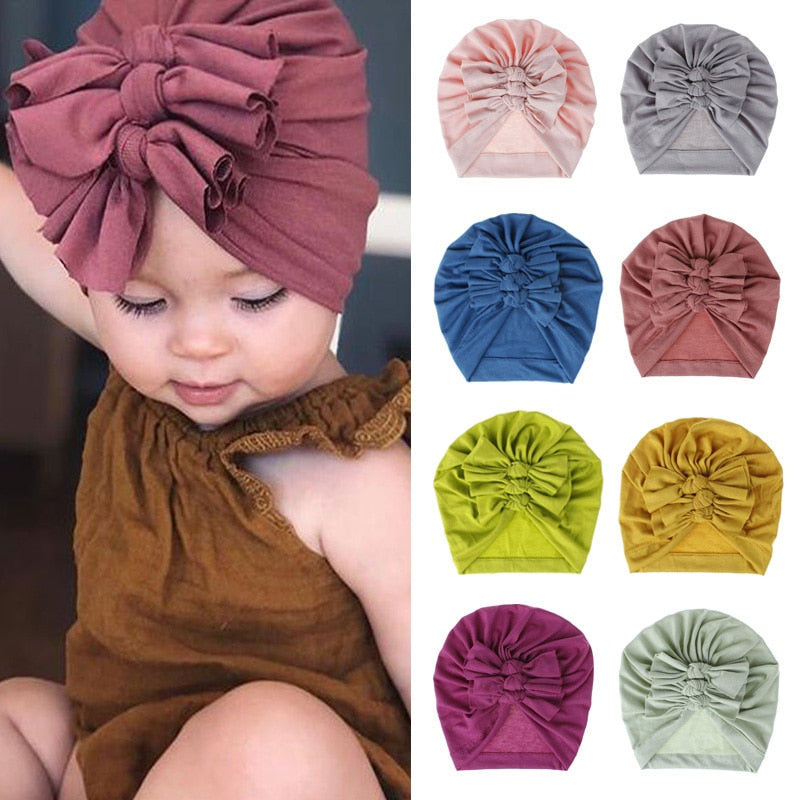 18 Colors Baby Hat for Girls Bows Turban Hats Infant Photography Props Cotton Kids Beanie Baby Cap Accessories Children Hats