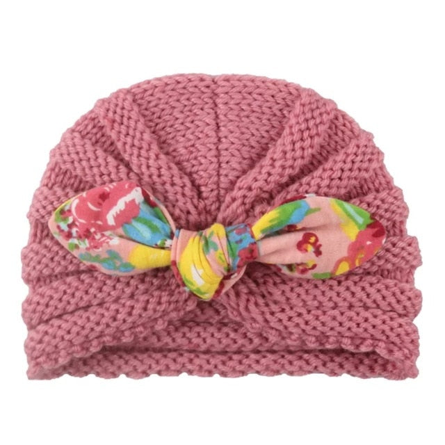 1 Pcs New Cotton Girl Hat Autumn Winter Baby Boy Girl Hat Colorful Bow Elastic Cute Baby Turban Cap For 0-3 year
