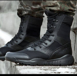 climbing Summer Combat Boot Men Women Climbing Training Lightweight Waterproof Tactical Boots Outdoor Hiking Breathable Mesh Army Shoes