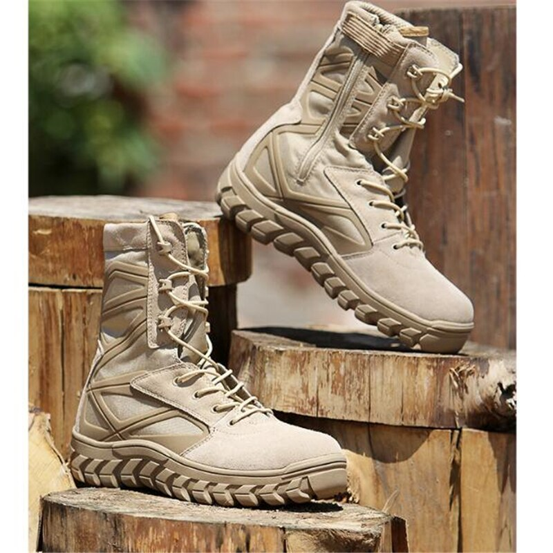 High Tube Leather Mesh Breathable Antiskid Military Combat Tactical Boots Outdoor Sports Training Climbing Desert Hiking Shoes