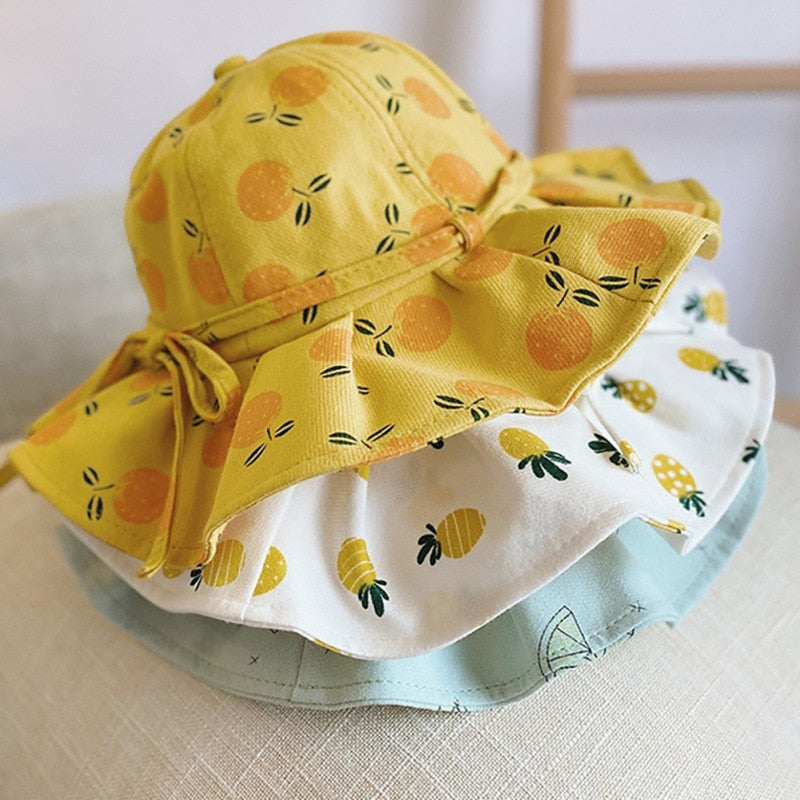 Baby Summer Outdoor Bucket Hat Kids Children Print Fruit Pattern Cap Sun Beach Lovely Lace Princess Brim Baby Girl Sun Hats