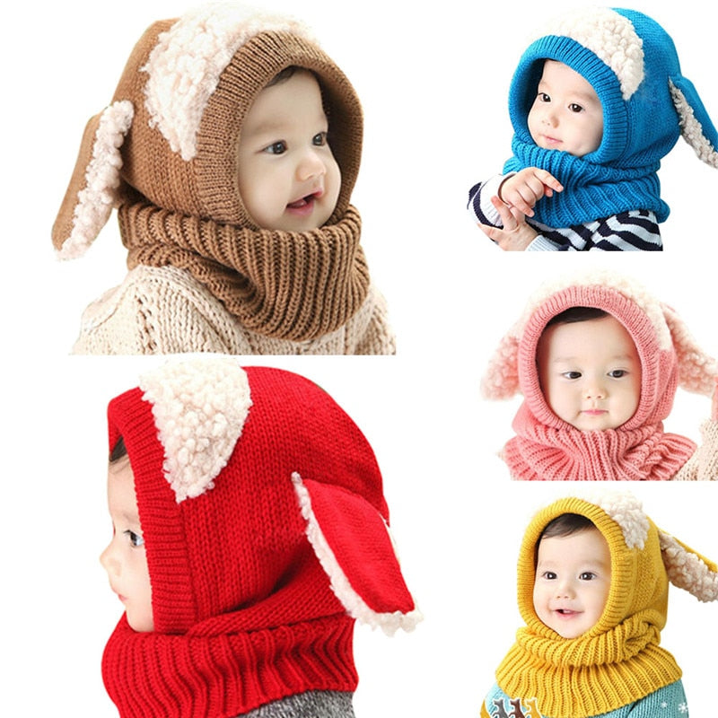 21 Styles Kids Winter Hats Girls Boys Children Crochet Warm Caps Scarf Set Baby Bonnet Enfant Cartton Cute Hat Christmas Gifts