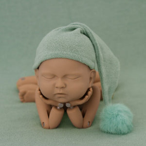 Newborn Photography Props Knit Fur Ball Newborn  Hat Baby Photo Studio Photography Props Cap  Beanie Baby  Hat