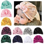 Autumn Winter Velvet Baby Hat Infant Turban Beanie Hats Baby Boys Girls Cap Bowknot Hair Accessories Photography Props