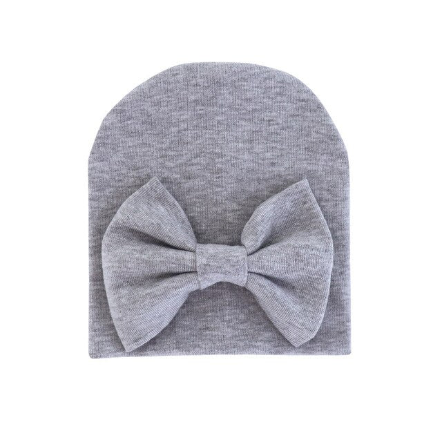 2020 Baby Girl Hat with Bow Cotton Warm Newborn Caps Infant Beanie Baby Stuff Accessories Solid Bowknot Cap for Girls Kid Hats