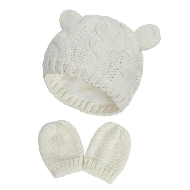 New Baby Kids Girls Boys Winter Warm Knit Hat Ear Solid Warm Cute Glove 2pcs Lovely Beanie Cap 0-18M