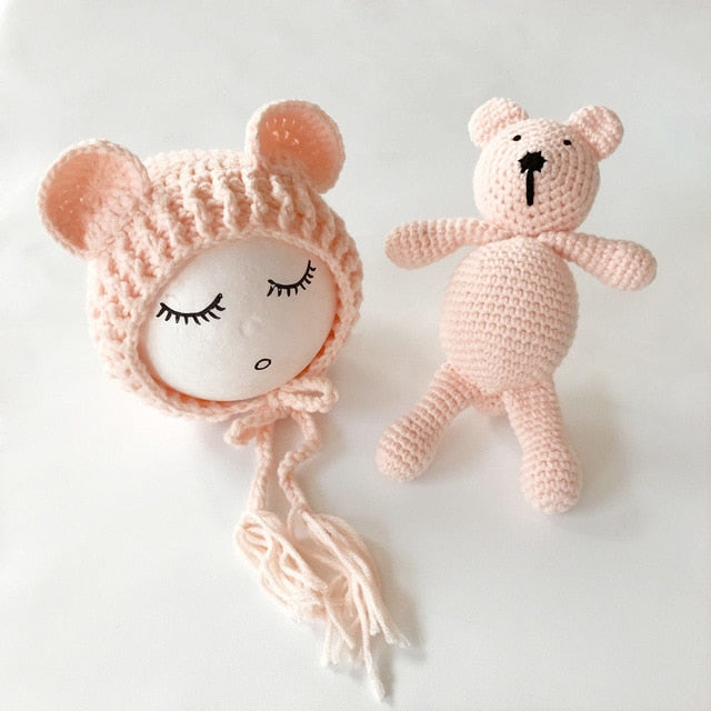 Newborn Baby Hats Photography Props Girls Boys Crochet Knit Costumes Caps With Ear Bear Toys+Hats 2Pcs Cute Gifts For Baby