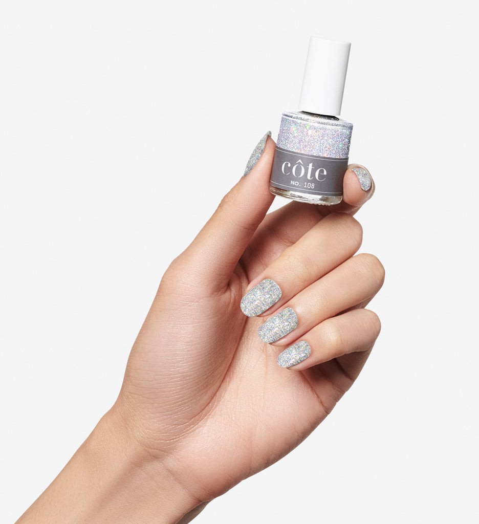 No. 108 True Glitter Silver Nail Polish - Vegan Nail Polish - hand