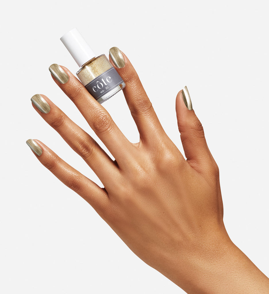 No. 96 Shiny Metallic Gold Nail Polish - Non Toxic Nail Polish - hand