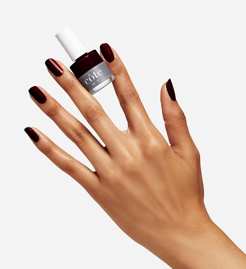 No. 39 Vampy Dark Red Nail Polish - Vegan Nail Polish - Hand