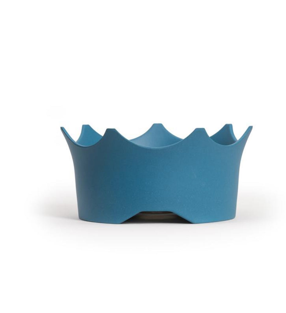 Blue colored dog bowl