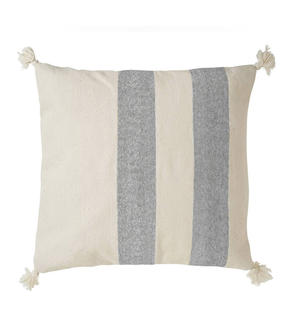 Silver Striped Cotton Cushion