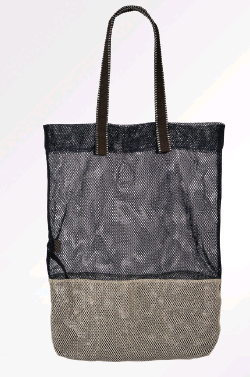 Epice Mesh Tote Bag - Cream and Navy