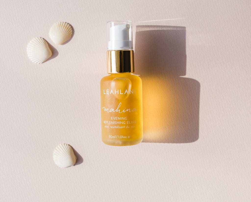 Mahina Evening Replenishing Elixir - Light, moisturizing facial oil as a serum with anti-aging ingredients.