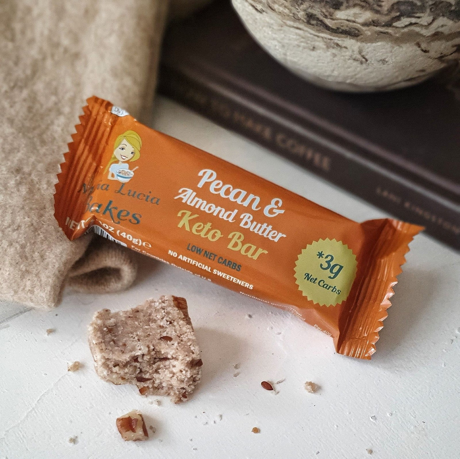 Special Offer 4 x Maria Lucia's Keto Bars - Low Carb, Sugar Free Keto Snacks - Pecan, Almond Butter & Coconut