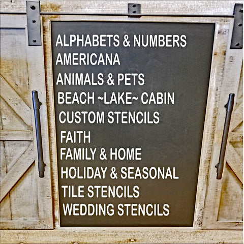 We have everything from Alphabets to Wedding Stencils.
