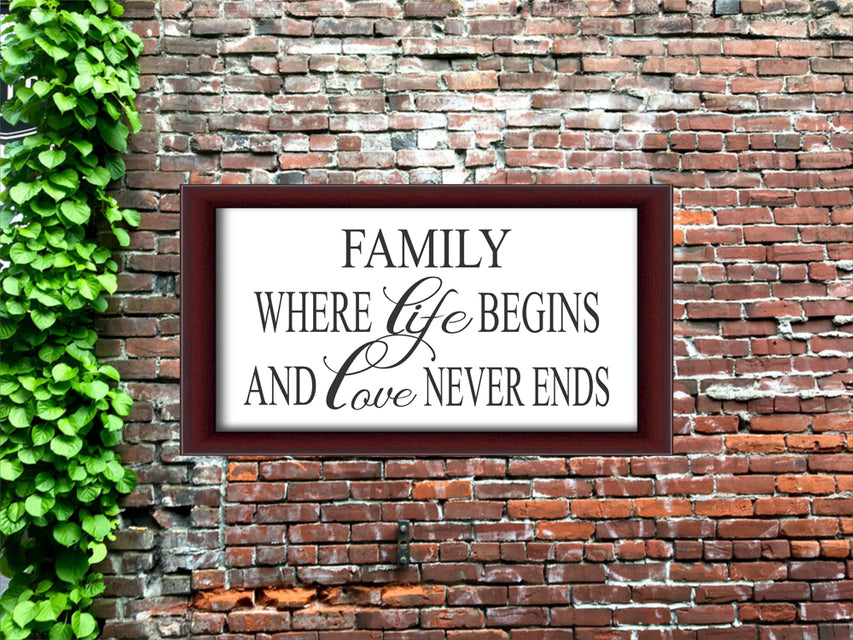 Family Where life Begins and Love Never Ends Stencil is perfect to create a Family sign for your Home. Get your paints ready!